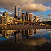 Seattle Pier Sunset Clouds Poster