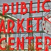 Seattle Public Market Center Clock Sign Poster