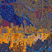 Seattle Skyline Abstract 4 Poster