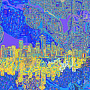 Seattle Skyline Abstract 6 Poster