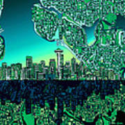 Seattle Skyline Abstract Poster