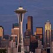 Seattle Skyline And Space Needle With City Lights Poster