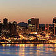 Seattle Skyline At Dawn Along Puget Sound Poster