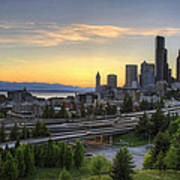 Seattle Skyline At Sunset Poster