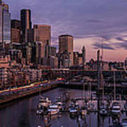 Seattle Skyline Bell Harbor Dusk Poster