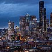 Seattle Skyline Evening Drama Poster