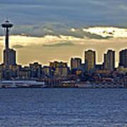 Seattle Skyline In Twilight Poster