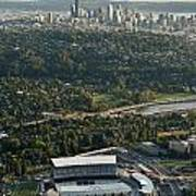 Seattle Skyline With Aerial View Of The Newly Renovated Husky St Poster