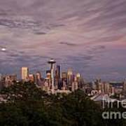 Seattle Skyline With Moonrise And Space Needle Poster