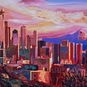 Seattle Skyline With Space Needle And Mt Rainier Poster