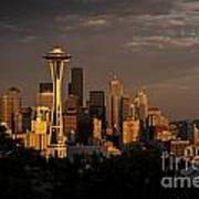 Seattle Skyline With Space Needle And Stormy Weather Poster