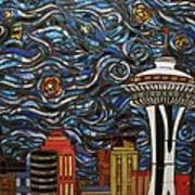 Seattle Starry Night Poster