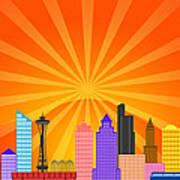 Seattle Washington City Skyline Panorama Poster