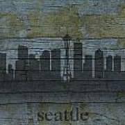 Seattle Washington City Skyline Silhouette Distressed On Worn Peeling Wood Poster