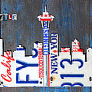 Seattle Washington Space Needle Skyline License Plate Art By Design Turnpike Poster