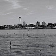 Seattle Waterfront Bw 2 Poster