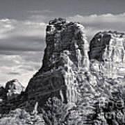 Sedona Arizona Mountain Peak - Black And White Poster