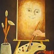 Self-portrait In Progress Poster by Pamela Allegretto