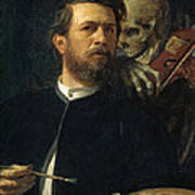 Self Portrait With Death Poster by Arnold Bocklin
