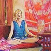 Self Portriat Meditating With Tarot Poster