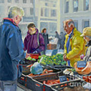 Selling Vegetables At The Market Poster