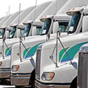 Semi Truck Fleet Poster