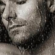 Sensual Portrait Of Man Face Under Pouring Water Black And White Poster by Oleksiy Maksymenko