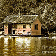 Sepia Floating House Poster