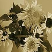 Sepia Garden Sunflower Bouquet Poster