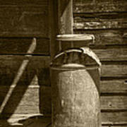 Sepia Photograph Of Vintage Creamery Can By The Old Homestead In 1880 Town Poster