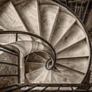 Sepia Spiral Staircase Poster