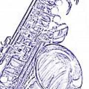 Sepia Tone Drawing Of A Tenor Saxophone 3356.03 Poster