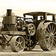 Sepia Tractor Poster
