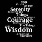 Serenity Prayer 5 - Simple Black And White Poster