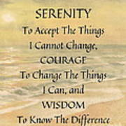 Serenity Prayer Typography On Ocean Sunset Watercolor Poster