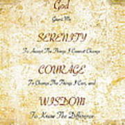 Serenity Prayer With Flowers And Butterflies Poster