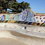 Serpentine Bench In Park Gueli In Barcelona Poster