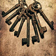 Set Of Old Rusty Keys On The Metal Surface Poster