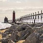Setting Spring Sun In Grand Haven Poster
