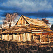 Setting Sun Gathering Storm And Old Homestead Poster