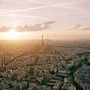 Setting Sun Over Paris Poster