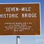 Seven Mile Bridge Florida Keys Sign Poster