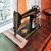 Sewing Machine Near Lace Curtain Poster