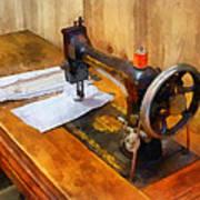 Sewing Machine With Orange Thread Poster