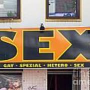 Sex Shop Sign Hamburg Poster by Jannis Werner