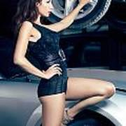 Sexy Mechanic Girl Posing With Cars Poster