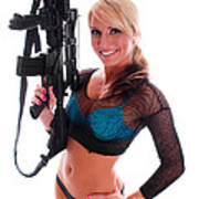Sexy Woman Holding An Ar15 Poster