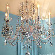 Shabby Chic Cottage Sparkling White Crystal Chandelier Photo - Dreamy Parisian Crystal Chandelier  Poster