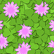 Shamrock Paper Cutting Clover Flowers Background Poster
