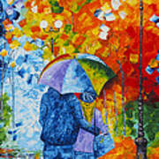 Sharing Love On A Rainy Evening Original Palette Knife Painting Poster